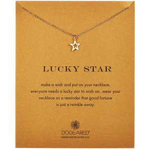 Dogeared 14K Gold Plated Sterling Silver Lucky Star Open Star Necklace