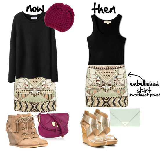 Black Oversized Sweater + Tribal Sequined Skirt + Fuchsia Scarf + Tan Ankle Boots