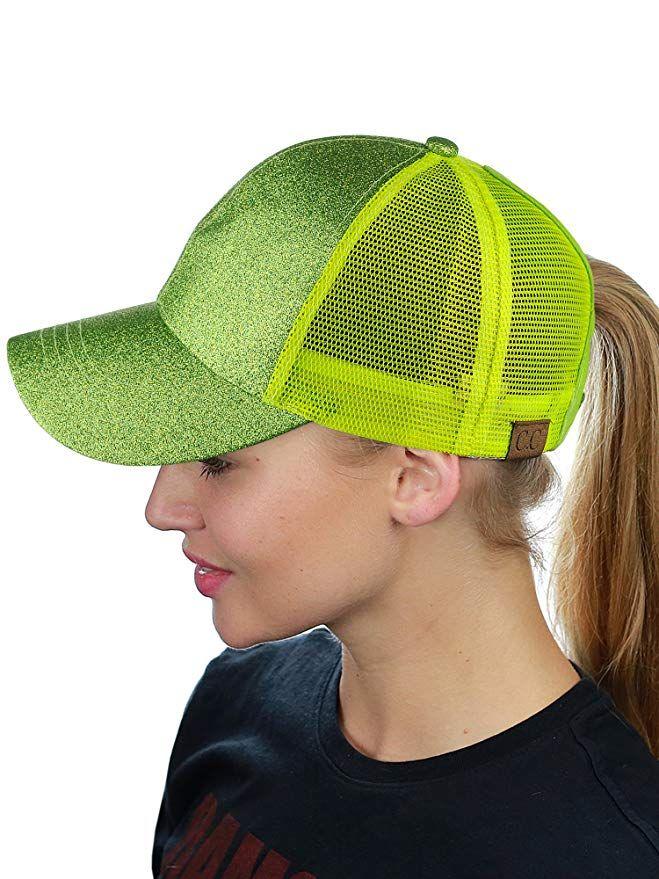 8e1bad982 C.C Ponycap Messy High Bun Ponytail Adjustable Glitter Mesh Trucker Baseball  Cap, Smoky Topaz at Amazon Women's Clothing store: