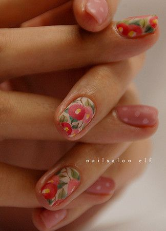 colorful nails; nail patterns; pink and white polka dots; floral decoration
