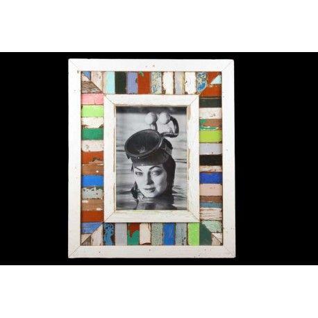 Nouveau: Cadre photo polychrome 30x 35 cm, bois de récupération. DANYE - Luna Design Frames. 60€