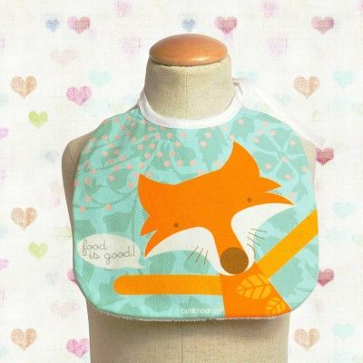 Baby bib Maria the fox  (by PinkNounou) at http://www.laranjalimao.com/