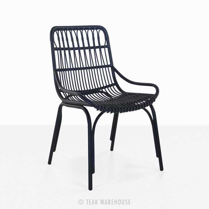 Sydney Outdoor Wicker Dining Chair (Black) | Outdoor Cafe Wicker Chair