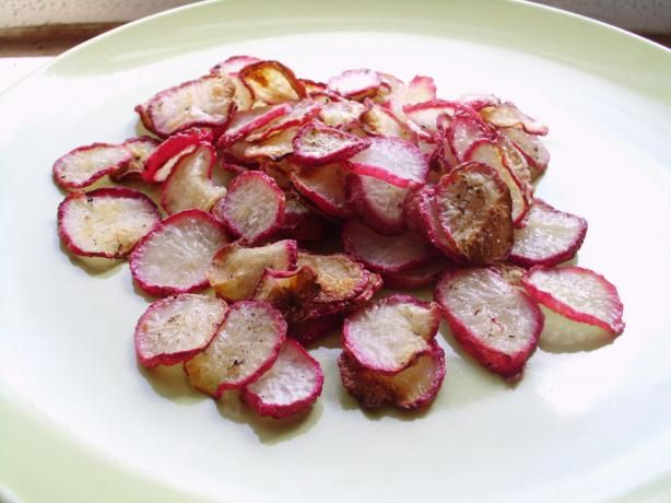 Crispy Baked Radish Chips (Low Fat/Low Carb). Made these tonight and they were really good. Make a lot bc they shrink.