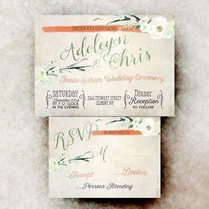 Green Orange Wedding invitation Set - Cottage chic wedding invitation, printable wedding invitation