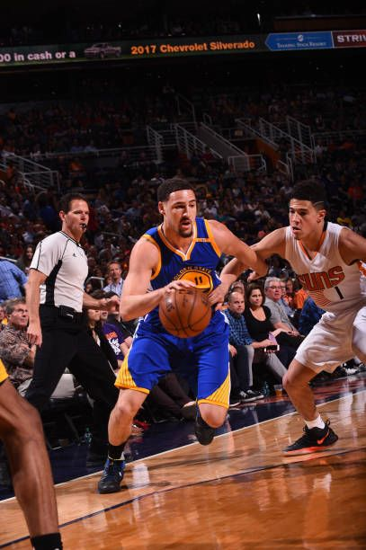 Klay Thompson of the Golden State Warriors handles the ball during a game against the Phoenix Suns on April 5 2017 at Talking Stick Resort Arena in...