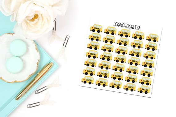 School Bus Planner Stickers by LeighaDarling on Etsy