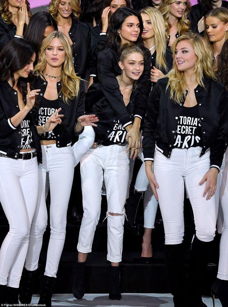Model behaviour: Gigi and Bella Hadid, Kendall Jenner, Adriana Lima, Joan Smalls and Alessandra Ambrosio posed alongside the troop of stunning supermodels
