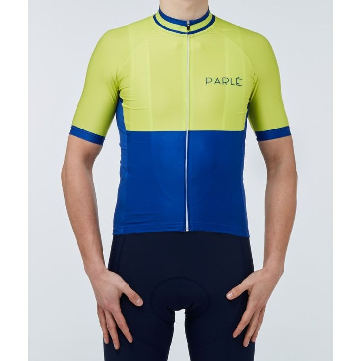 https://parle.cc/en/jerseys/18-lemon-jersey.html Parlé Cycling. Lemon Jersey.The combination of classic navy blue with contrasting lime green gives the jersey a distinctive look. The use of materials with a high capacity for moisture drainage provides comfort during long workouts. The bottom silicone tapes stabilize the position of a jersey and the fully-fashioned cut makes it adhere perfectly to the body.