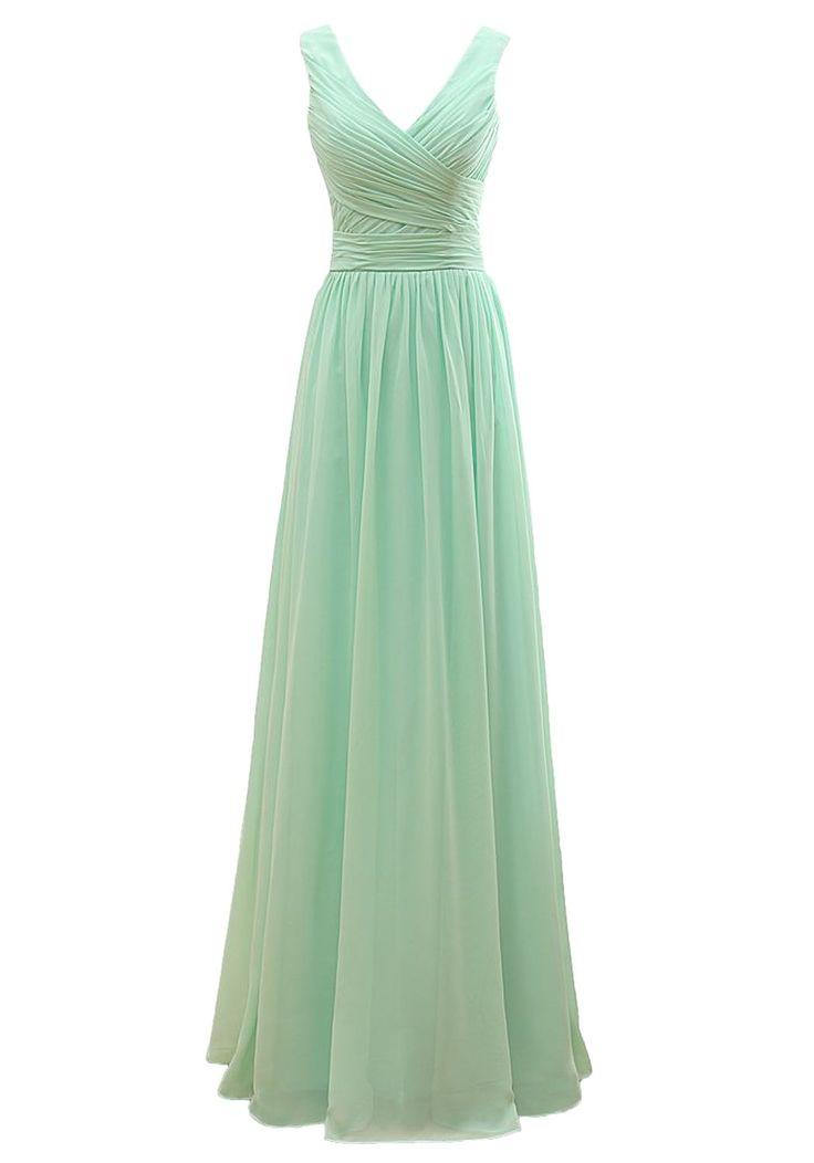 Now and Forever V Neck V Back Straps Bridesmaid Dresses (10, mint green)