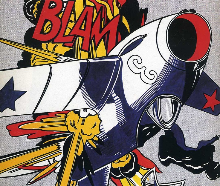 Blam! (1962) by Roy Lichtenstein. The artwork is pop art. Vibrant colours, flat imagery, pronounced lines, similar to comics in appearance, used things from popular media, and celebrities or fictional characters. Lichtenstein used all except the usage of people in this artwork.