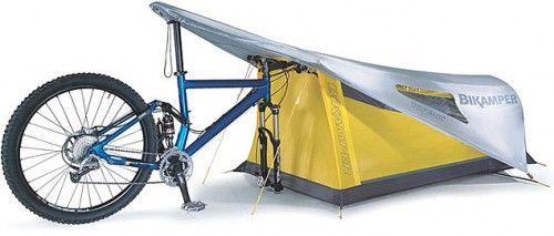 The Topeak Bikamper is a convenient one person tent that uses the front wheel, handle bars, and seat of your bike in lieu of tent poles.
