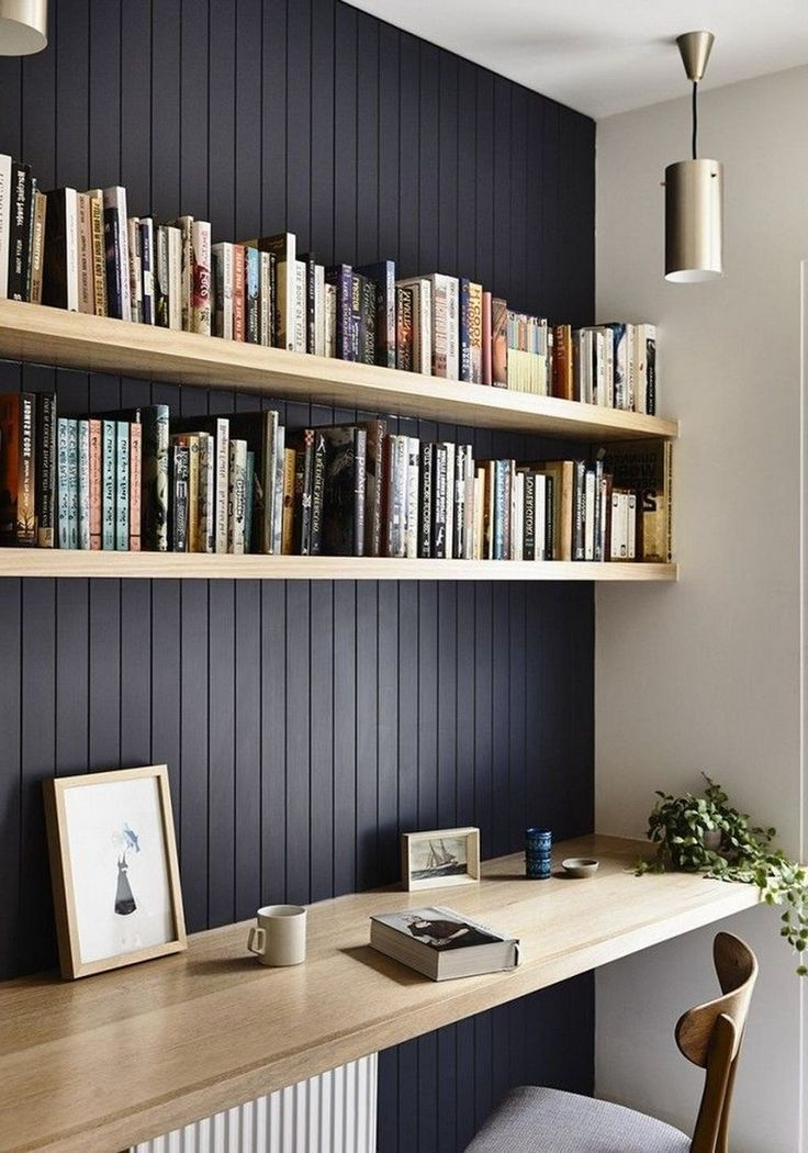 Simple Home Office Floating Shelves Black Shiplap Wall In 2020 Office Interior Design Home Office Design Stunning Interior Design