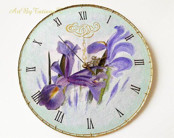 Iris Spring Flower Decoupage Handmade Wall Clock on vinyl