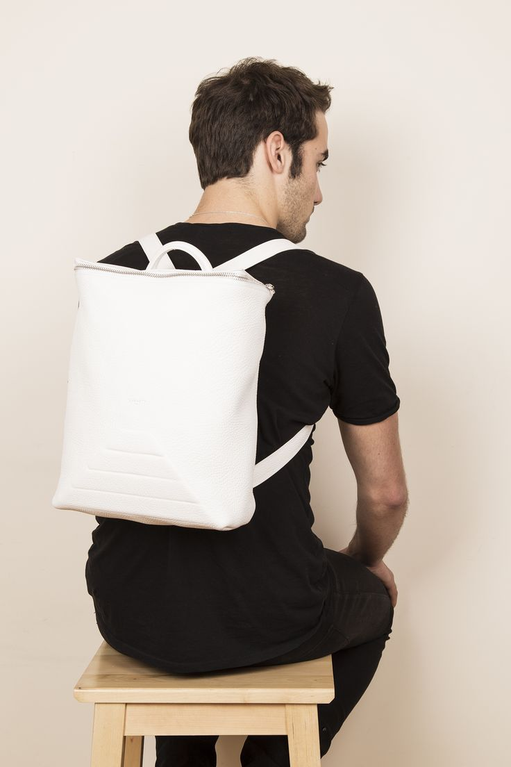 Model with our leather backpack BENJI in white. www.jeromebocchio.com