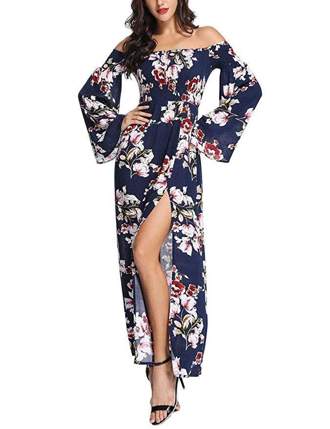 a28bbd89f56 Azalosie Off Shoulder Dress Floral Long Sleeve Empire Waist Slit Bohemian  Party Hawaiian Cocktail Long Maxi Dress