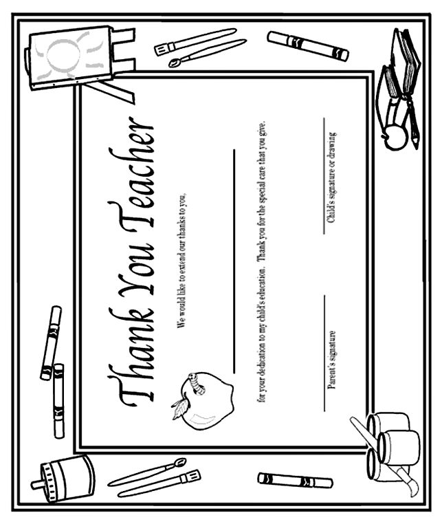 'Thank You, Teacher' Certificate coloring page