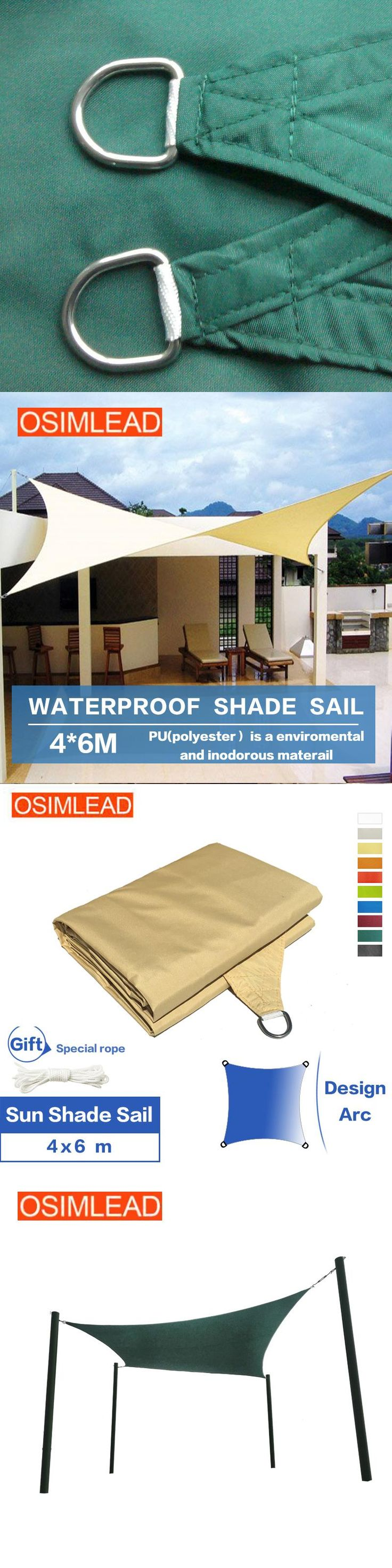 OSIMLEAD 4*6 m waterproof PU coated sun shade sail RECTANGLE CANOPY COVER - OUTDOOR PATIO AWNING - 13' *20'