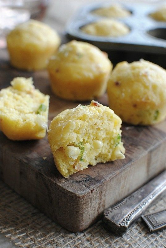 Corn muffins with bacon and Parmesan. (Fresh) corn, buttermilk ...