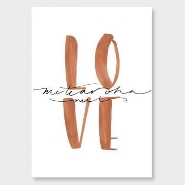 LOVE - ME TE AROHA NUI A4 Print by Kate HursthouseHigh quality fine art print on white 260gsm cotton rag archival art paper using UltraChrome archival inks.Available in 3 sizes and custom trimmed with a border for framing. Frames are custom-made in NZ using Italian wooden mouldings, they have a modern profile and a smooth matte finish.:
