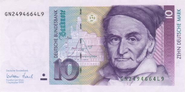 german currency | 1777-1855 Carl Friedrich Gauss on German currency introduced in 1991 ...