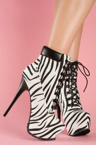 Zebra print boot heels