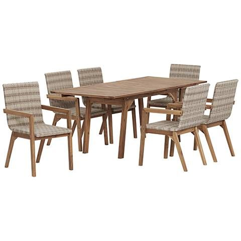 Vancouver Natural Wood and Wicker 7-Piece Outdoor Dining ...