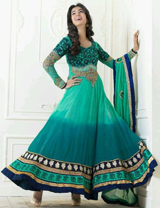Peacock green anarkali