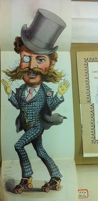 """Vintage Valentine's card with roller skater : Wording says """"he's a slave to the rink!""""   This guy reminds me of a guy at the rink last tuesday who was very full of himself :-)"""