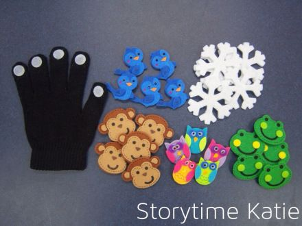 Flannel Friday: Finger Puppet Glove | storytime katie  {Great idea for reusable glove using felt stickers}