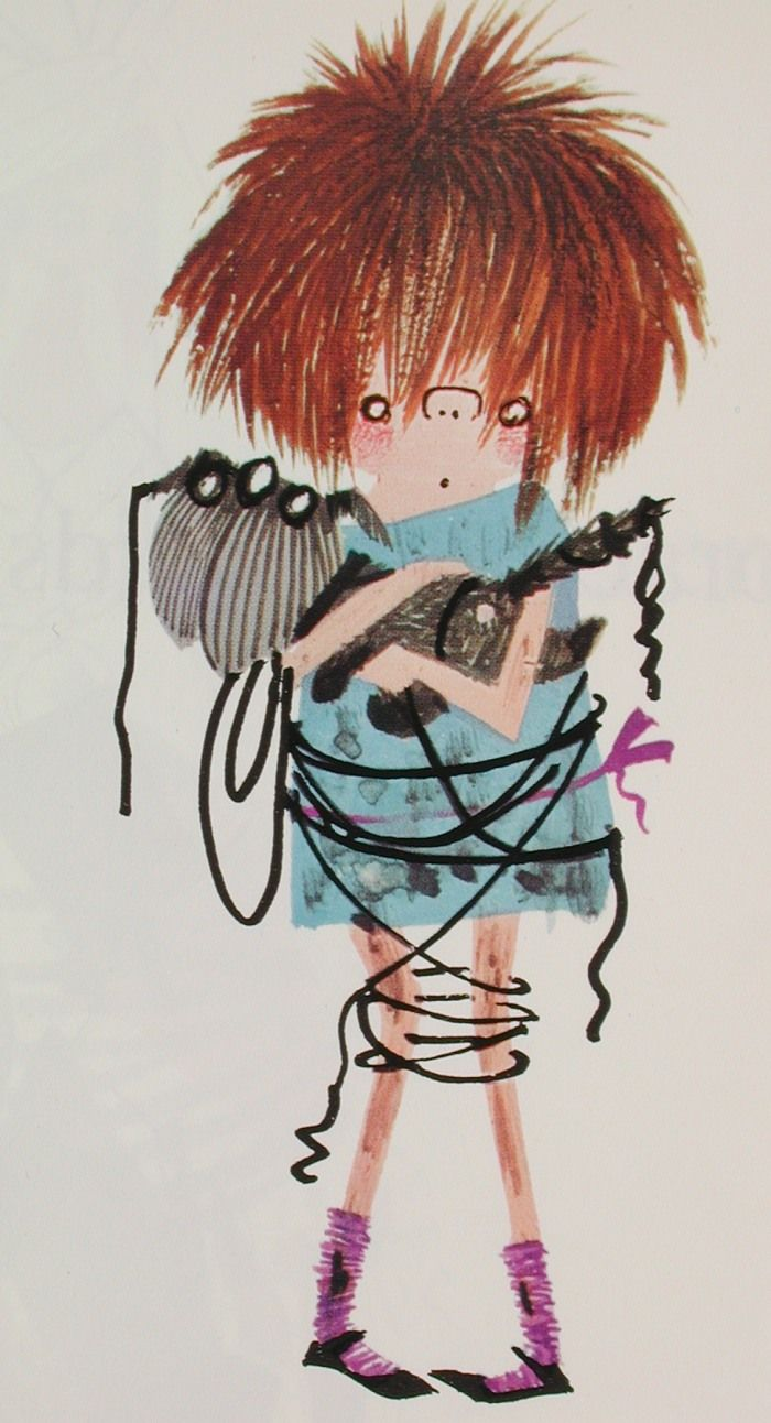 Floddertje a dirty girl from a childrens book by Annie MG Schmidt, drawing by Fiep Westendorp