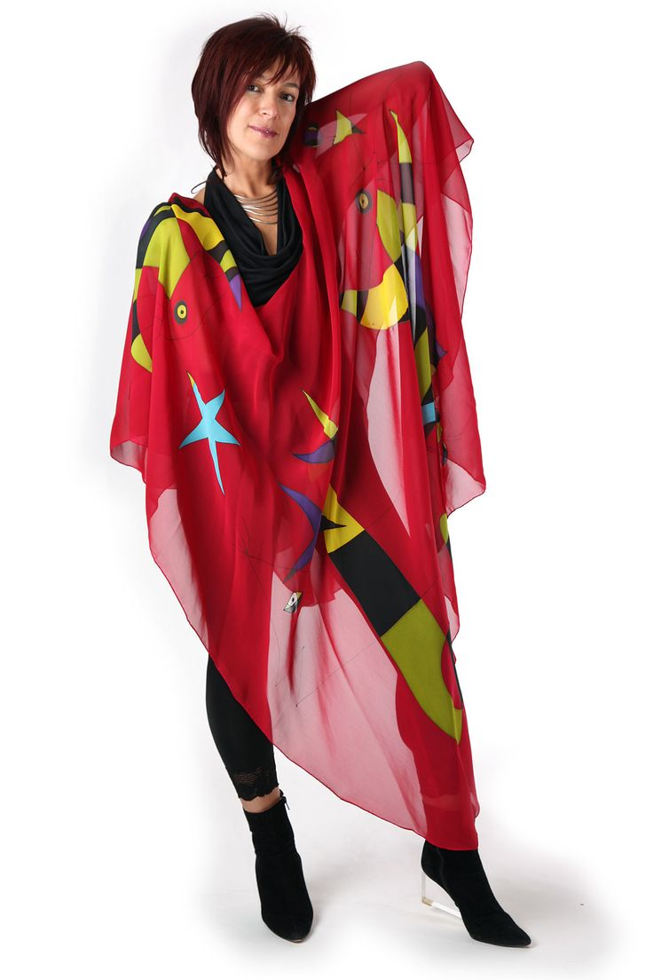 Red Miro - Hand painted silk cape by Natasha Foucault, represented by Human Arts Gallery in Ojai, CA.