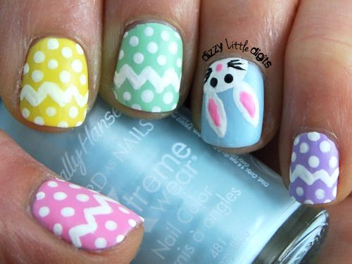 Cute little peeker rabbit.      Day 11: Pastels – March Nail Art Challenge