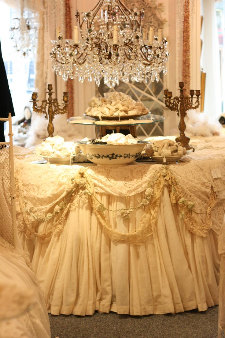 Oh my goodness: Idea, Tables Sets, Shabby Chic, Antiques Lace, Tables Toppers, Tables Skirts, Parties Tables, Lace Trim, Embellishments