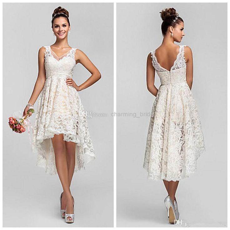 Wholesale Bridal Dresses 2014 - Buy Simple Hi Lo V Neck Lace Tea Length Short Wedding Dresses A Line Sleeveless Illusion Straps Bridal Gowns V Back Vintage Beach Wedding Gowns, $149.0 | DHgate