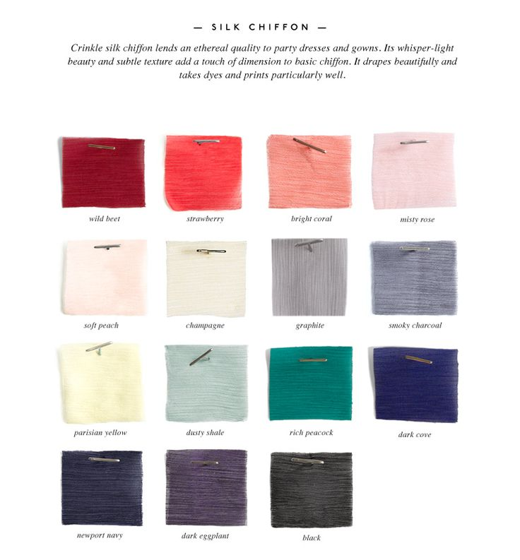 color & fabric guide - match your bridesmaid dresses based on seasonal colors and fabrics http://rstyle.me/n/fhnqnpdpe