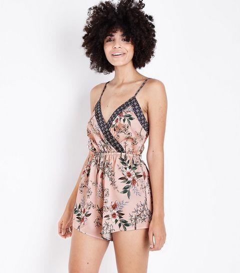acheter pas cher caractéristiques exceptionnelles recherche de véritables Selina - Combishort de pyjama rose moyen en satin à fleurs ...