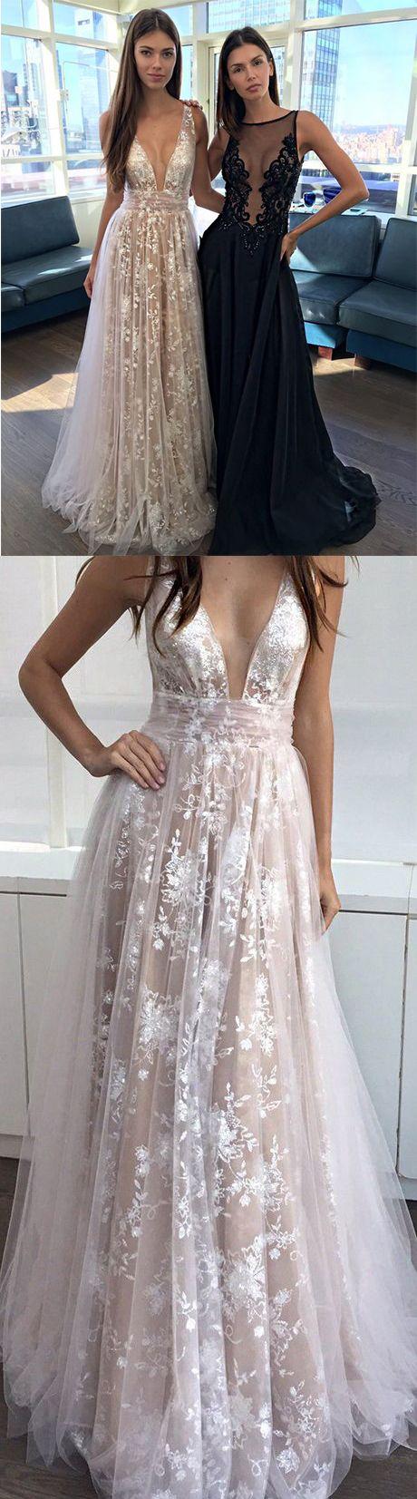 Champagne Prom Dresses,A Line Prom Dresses,V-neck Evening Dresses,Sexy Party Dresses, Long Formal Dress,Prom Dress