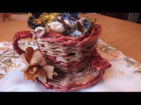 Плетение из газет Чашка How to make Paper Basket newspapers Tutorial periódicos de tejer - YouTube