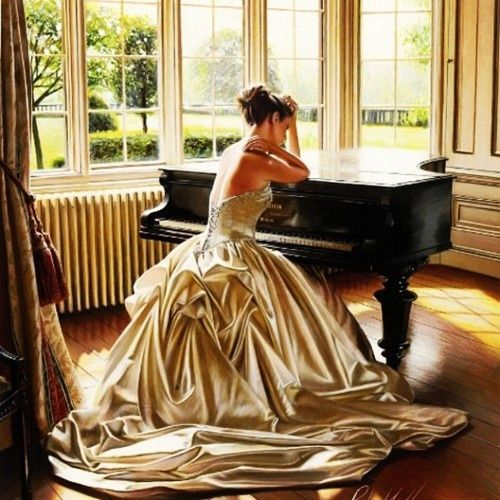I should totally buy a gold ball gown just to play  piano.....