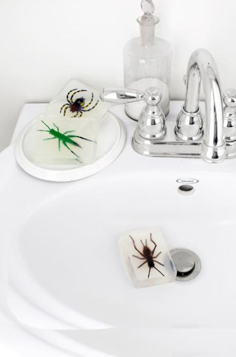 Add some creepy spiders to your bathroom. A perfect #decor for a #Halloween trick.