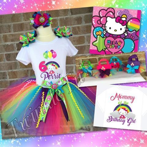 Rainbow Hello Kitty Birthday Tutu Outfit
