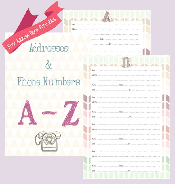 free address book printables 3 organization home pinterest