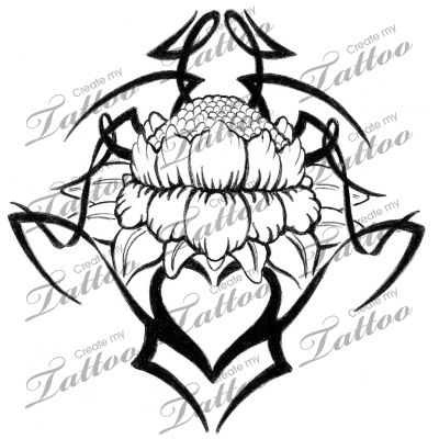 Marketplace Tattoo Lotus Flower with Tribal #4737   CreateMyTattoo.com