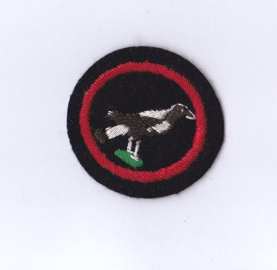 Vintage Girl Guides Patrol Emblem Badge with the image of a bird (magpie?), circa 1960s Excellent condition, does not appear to have been sewn on. Measures approx. 4.5cm wide