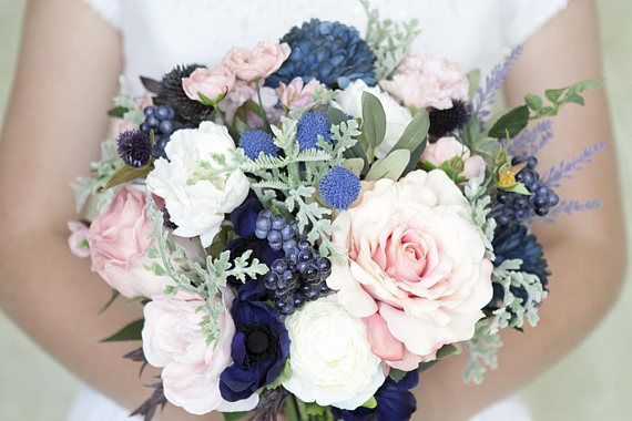 Navy Bouquet Blush And Navy Bouquet Pink And Navy Bouquet Blush