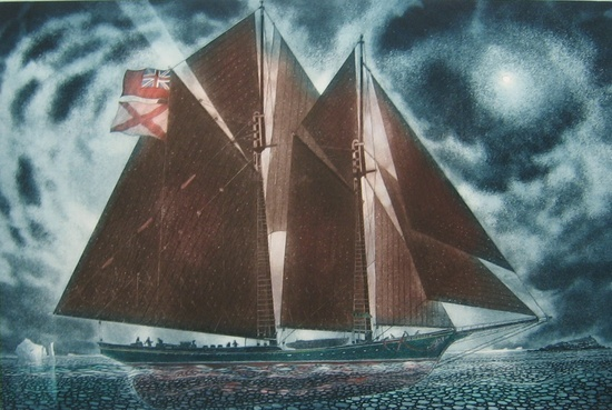 The 'Loyd Jack' Leaving for the Labrador 2012, Etching and aquatint, 24 x 36 inches