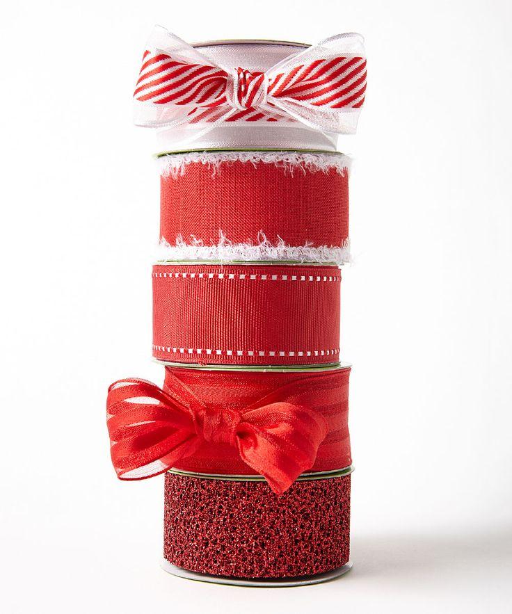 1.5'' White & Red Grosgrain Ribbon - Set of Five