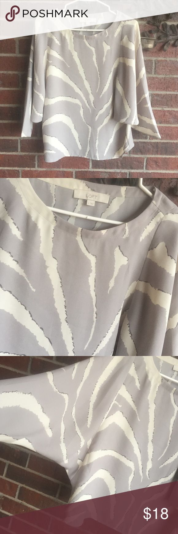 Loft grey zebra print size S batwing sleeved top Excellent condition. Size Small with measurements of 20 in from underarm to underarm and 5 in from underarm going down the side length.  (350134T) LOFT Tops Blouses