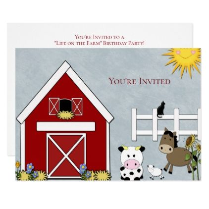 Birthday Party Farm Country Custom Card - invitations custom unique diy personalize occasions